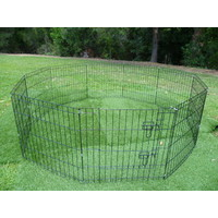 "24"" 10 Panel Pet Playpen Enclosure for Puppies, Rabbits, Ferrets or Guinea Pigs"